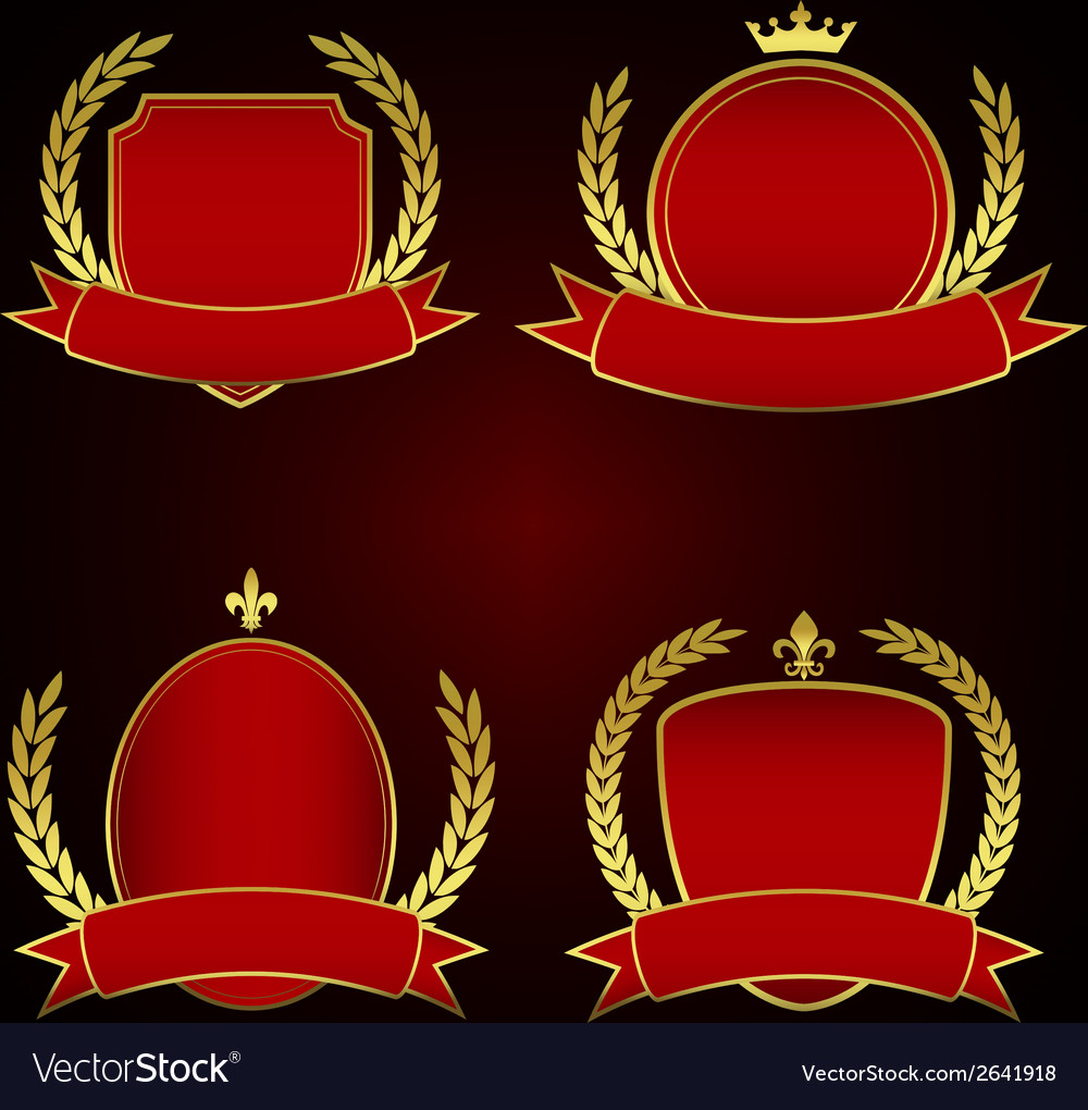Set of red royal emblems with laurel leaves vector | Price: 1 Credit (USD $1)