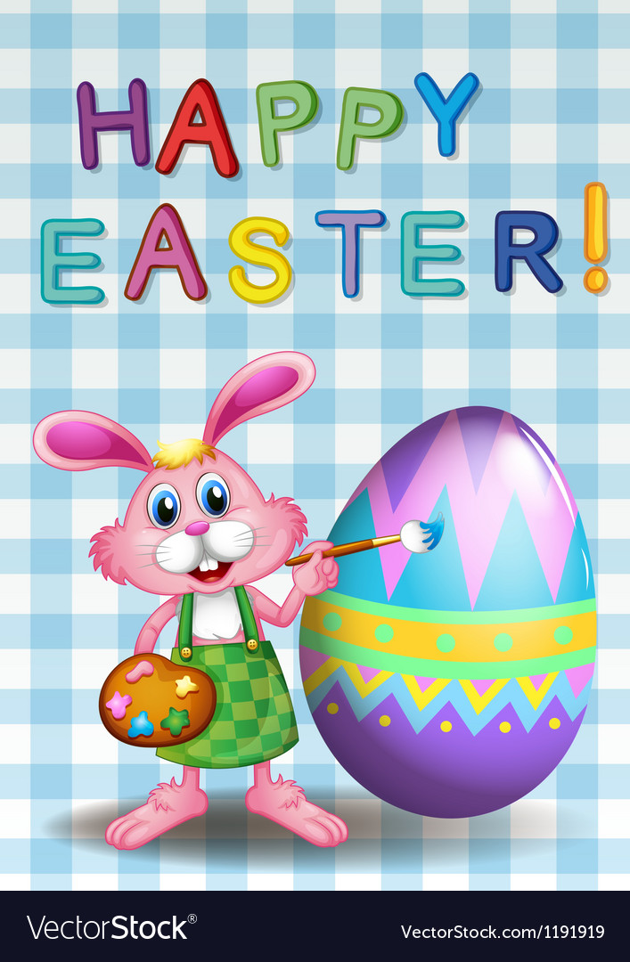 A happy easter card with a bunny and an egg vector | Price: 1 Credit (USD $1)