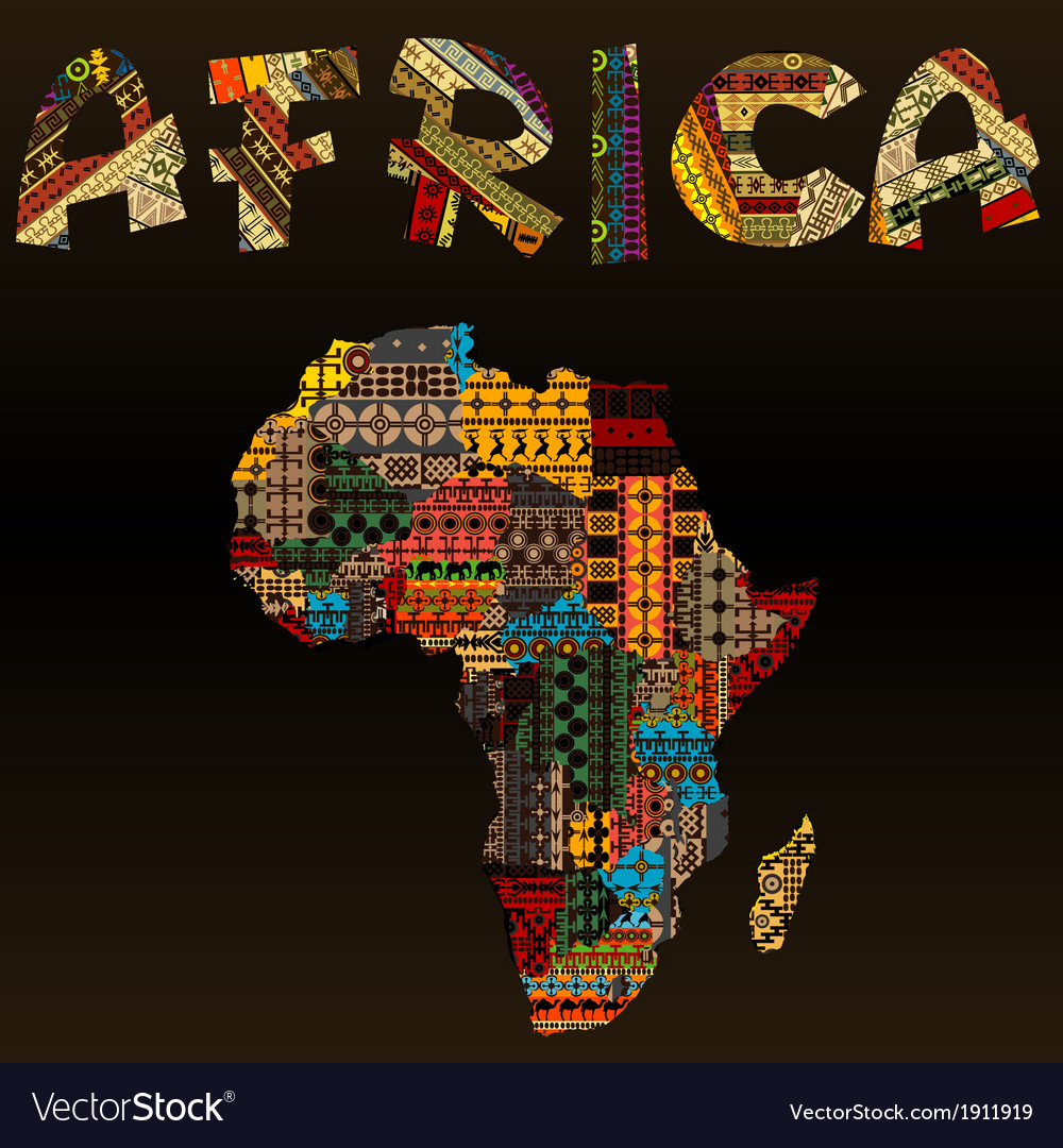 Africa map with african typography made of vector | Price: 1 Credit (USD $1)