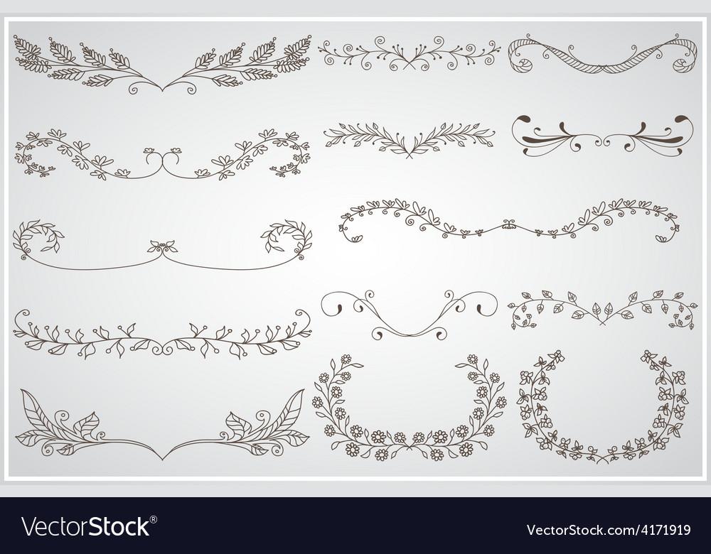 Big set of elegant calligraphic foliate borders vector | Price: 1 Credit (USD $1)