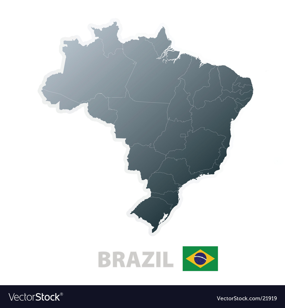 Brazil map with official flag vector | Price: 1 Credit (USD $1)