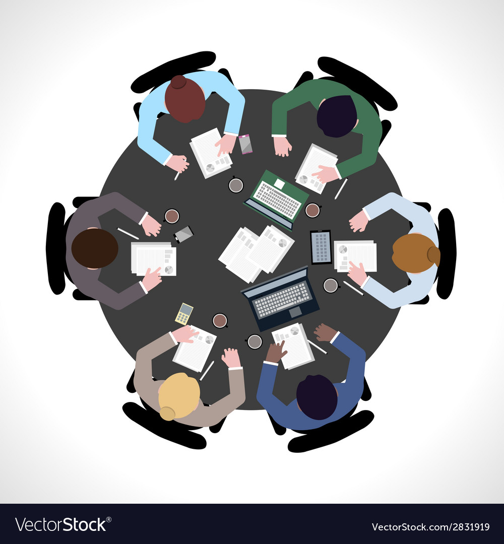 Business meeting top view vector | Price: 1 Credit (USD $1)