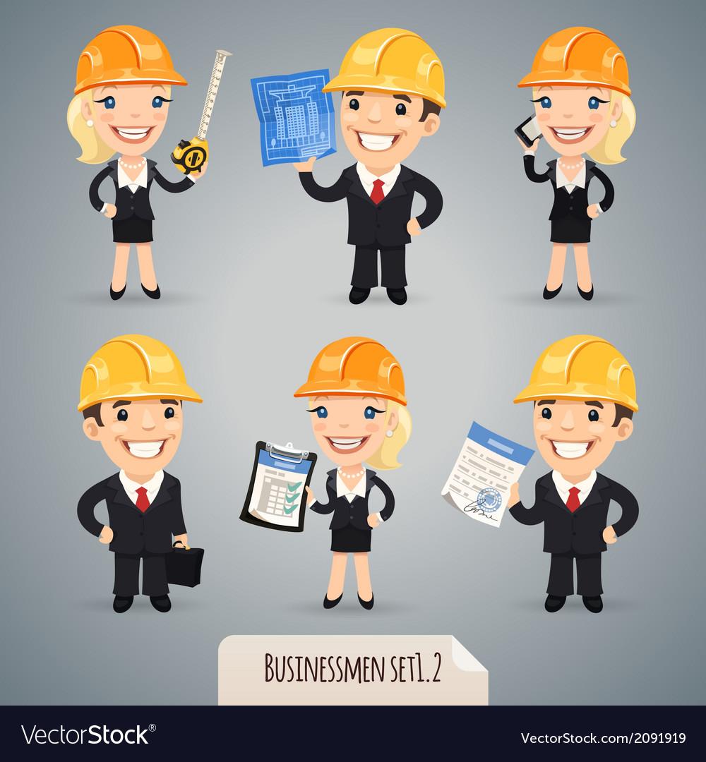 Businessmen in helmet set1 2 vector   Price: 1 Credit (USD $1)