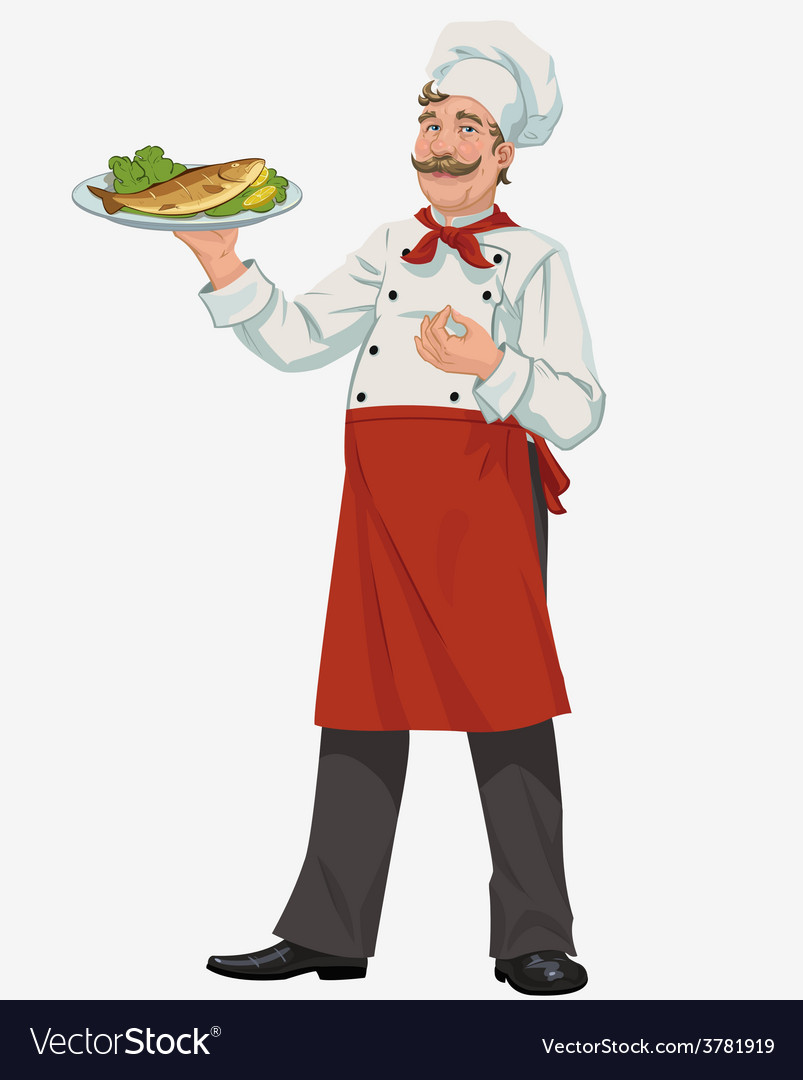 Chef with cooked fish vector | Price: 3 Credit (USD $3)