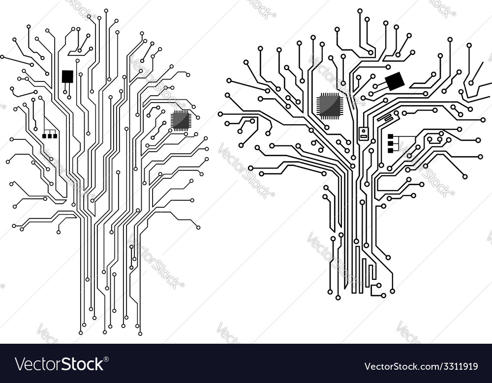 Computer tree with chip and motherboard vector | Price: 1 Credit (USD $1)