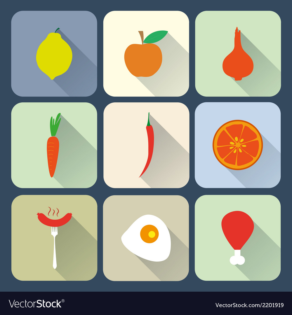 Food flat icons vector | Price: 1 Credit (USD $1)