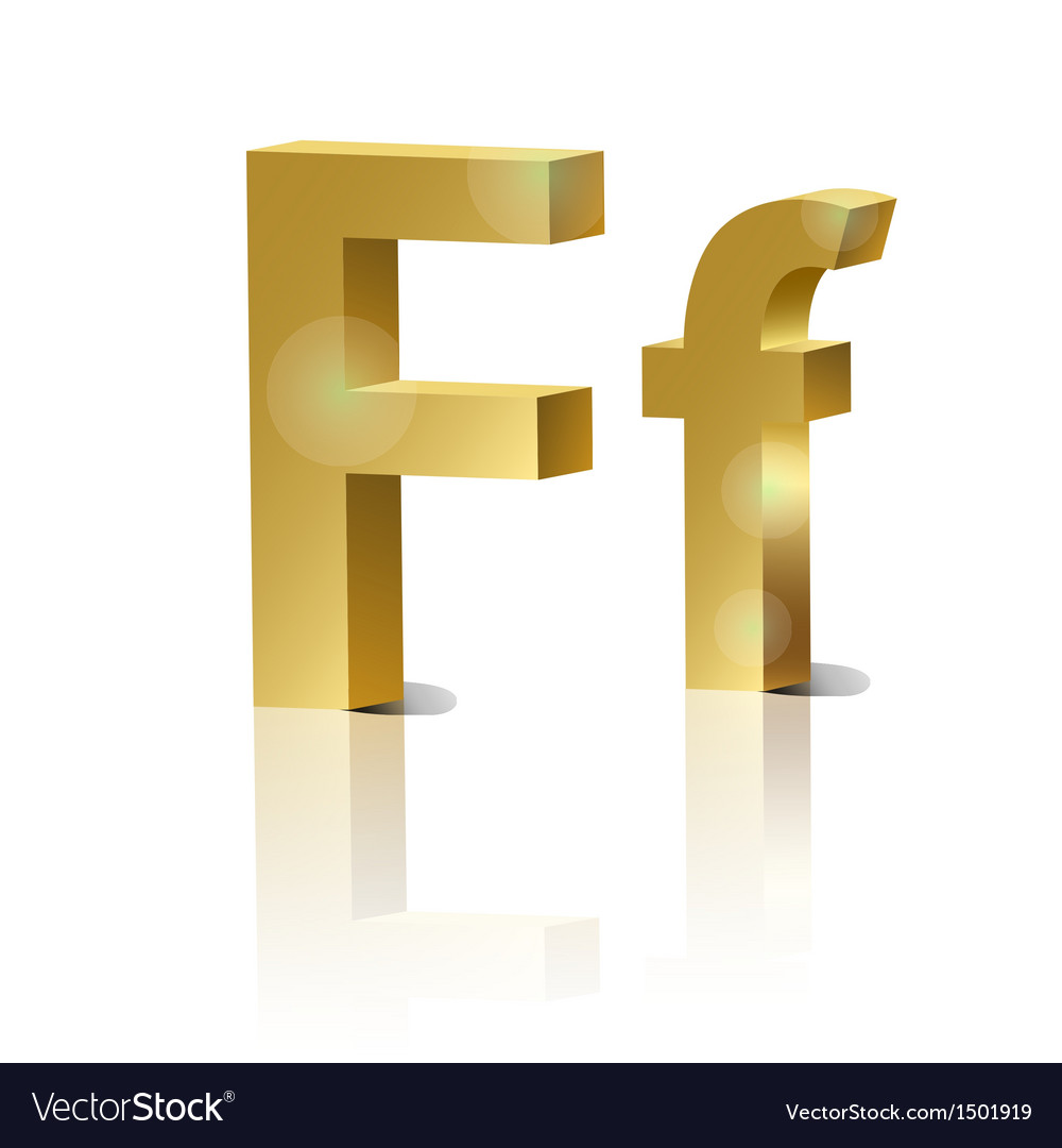 Golden letter f vector | Price: 1 Credit (USD $1)