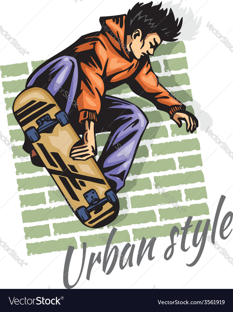 Jump on a skateboard - color vector | Price: 3 Credit (USD $3)