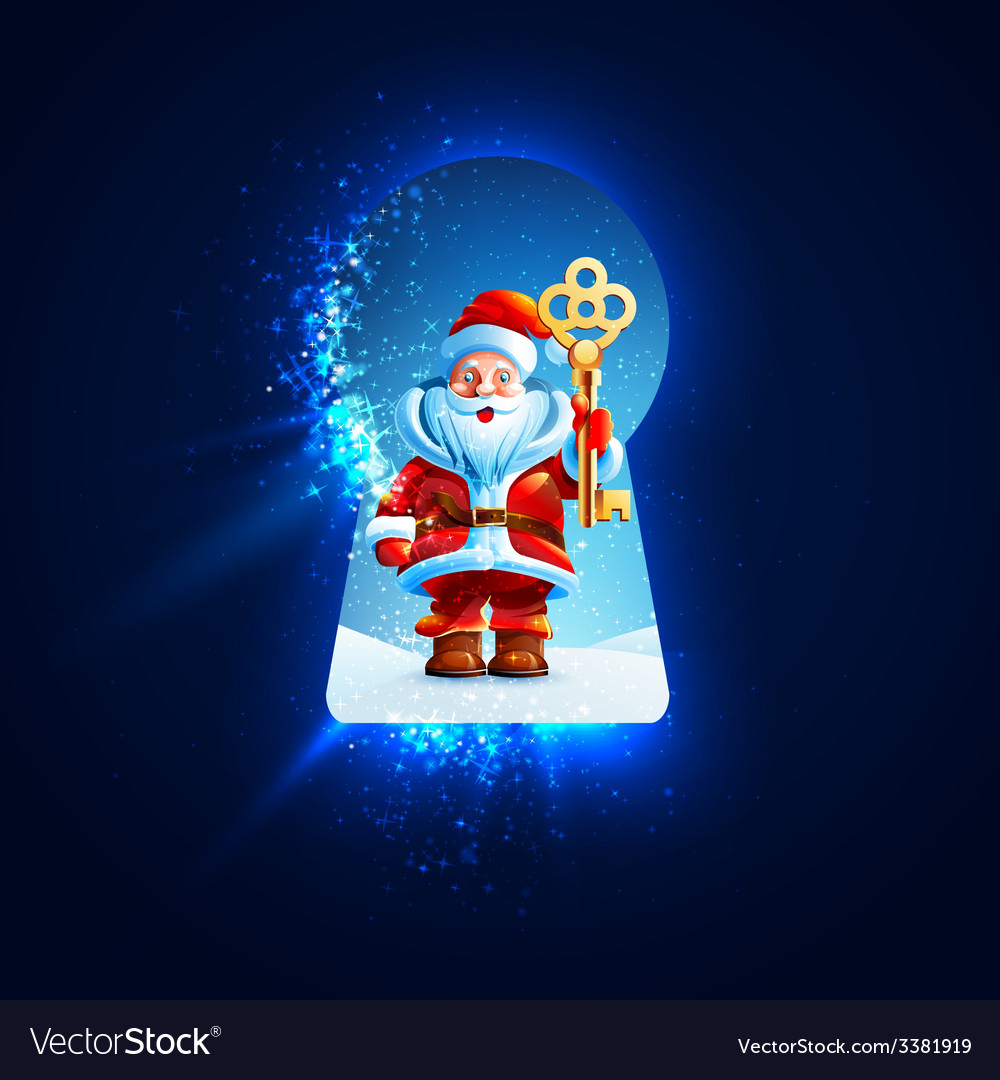 Santa claus with a golden key in the keyhole vector | Price: 5 Credit (USD $5)