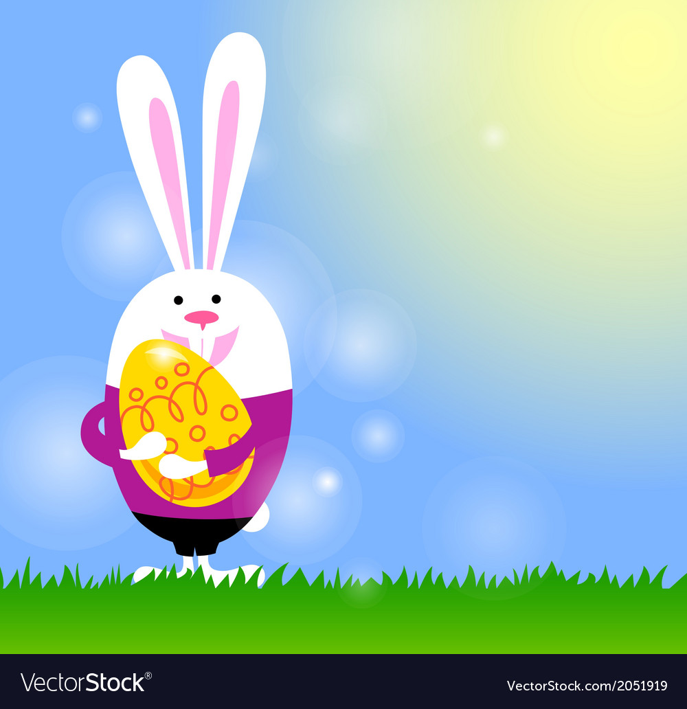 Spring background with bunny and easter egg vector   Price: 1 Credit (USD $1)