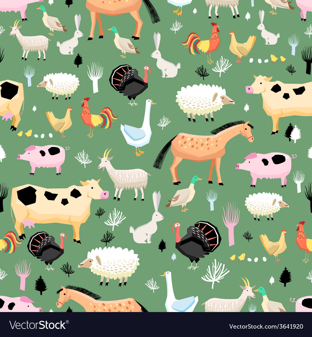 Bright pattern of farm animals vector | Price: 1 Credit (USD $1)
