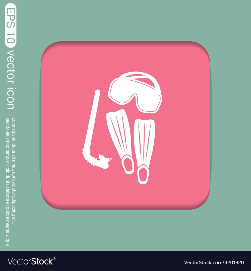 Diving mask fins and snorkel diving symbol sea vector | Price: 1 Credit (USD $1)