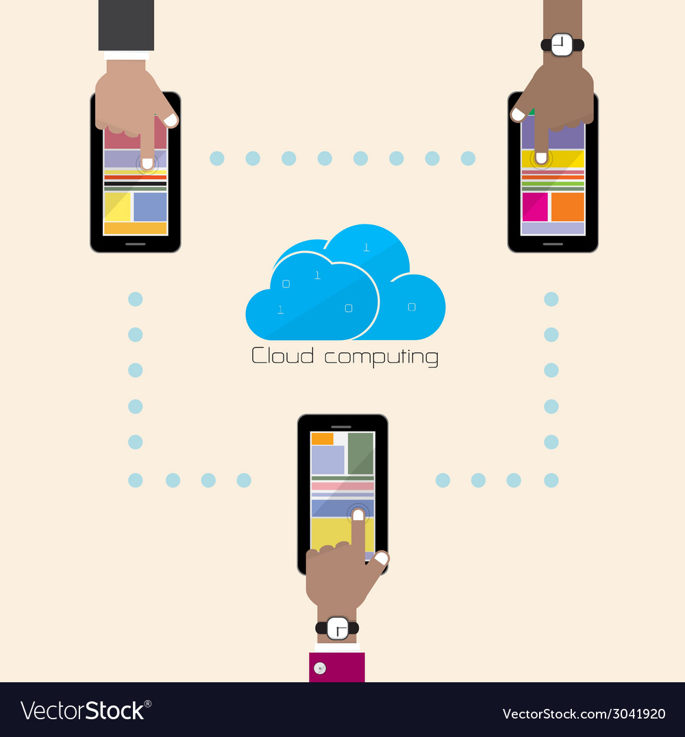 Flat cloud technology computing background concept vector | Price: 1 Credit (USD $1)