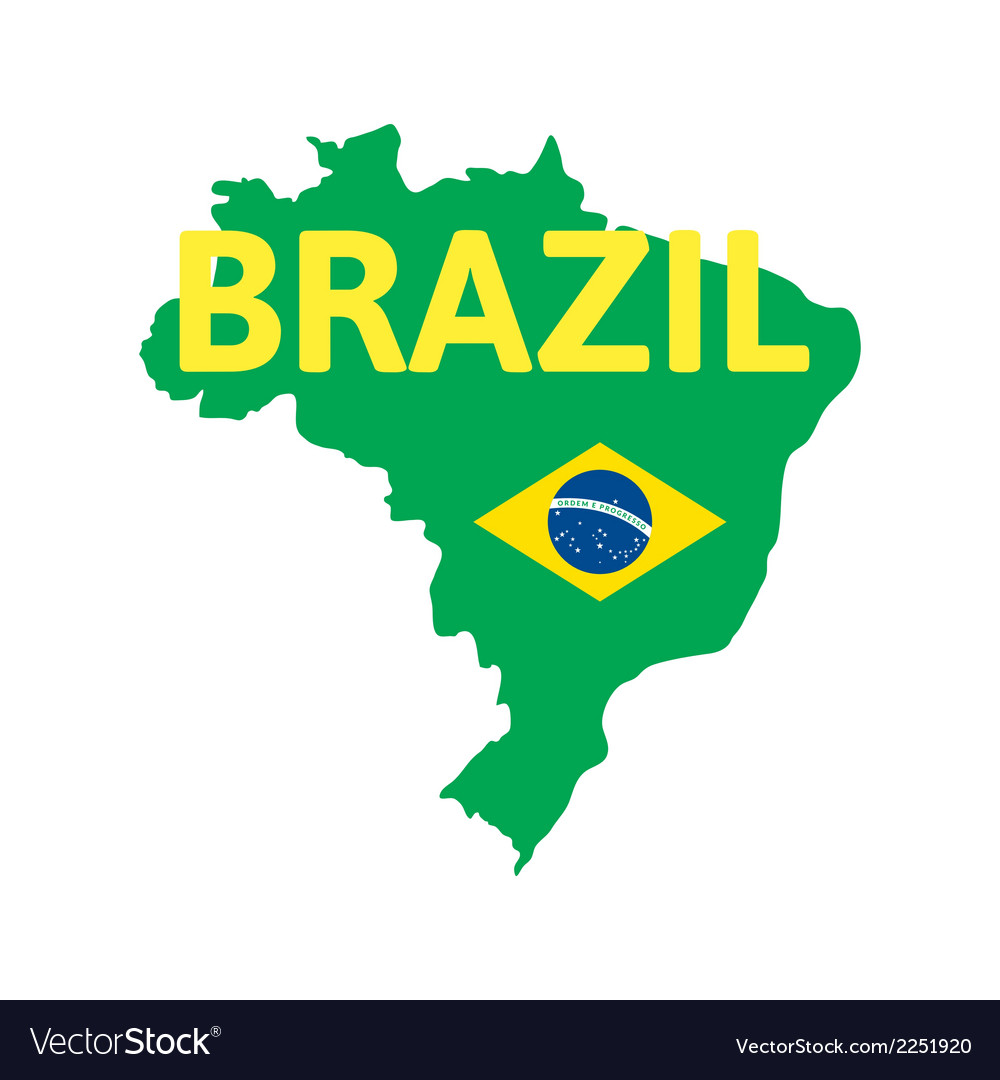 Flat simple brazil map vector | Price: 1 Credit (USD $1)