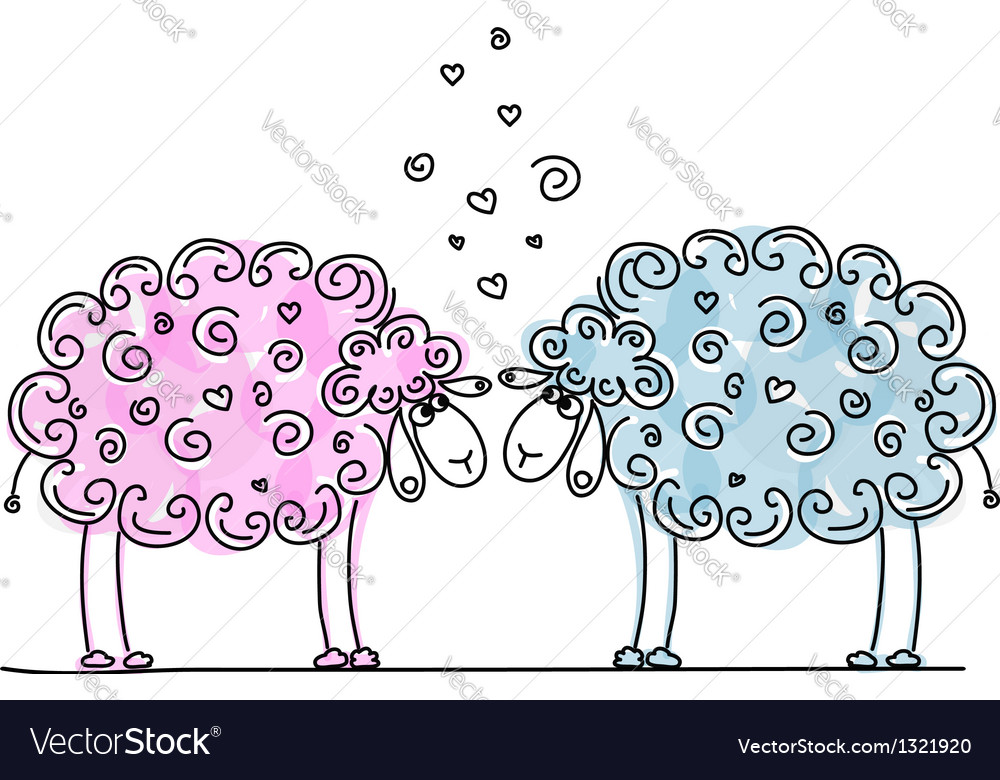 Funny sheeps in love sketch for your design vector | Price: 1 Credit (USD $1)