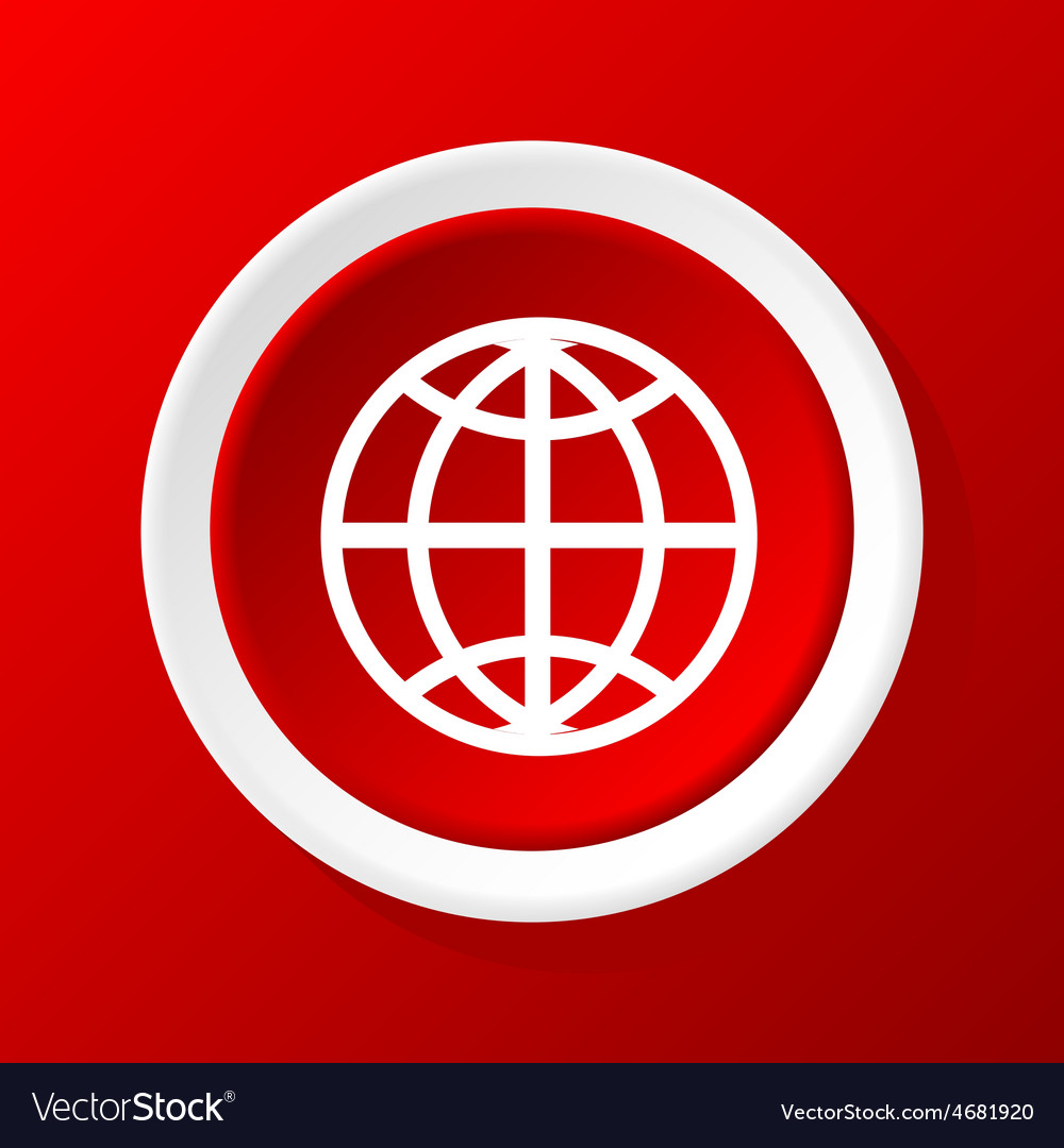 Globe icon on red vector | Price: 1 Credit (USD $1)