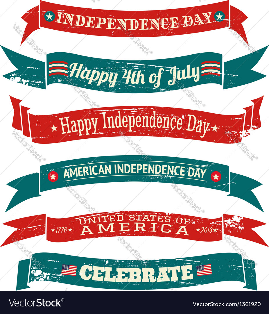 Independence day vintage banners collection vector | Price: 1 Credit (USD $1)