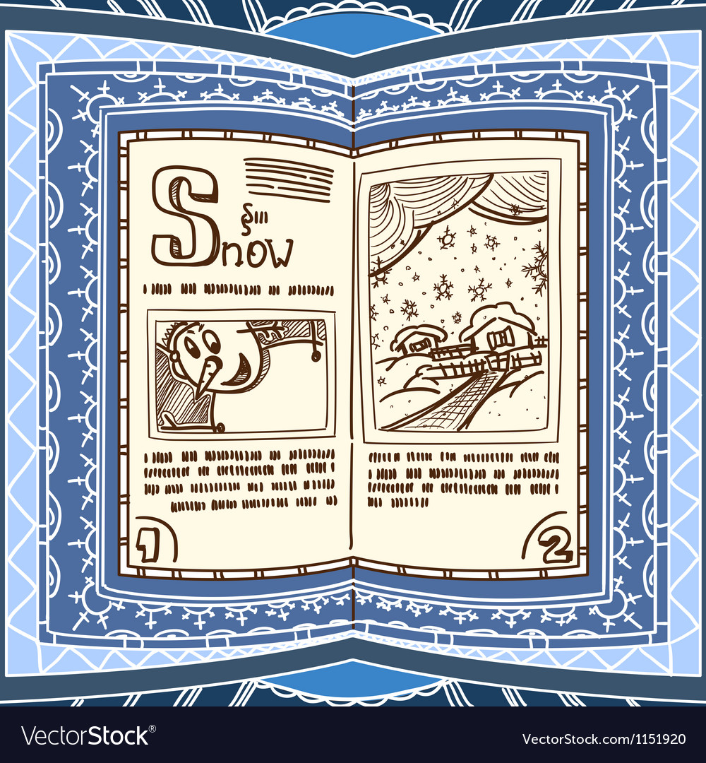 Ornamented magic book with the spell of snow vector | Price: 1 Credit (USD $1)