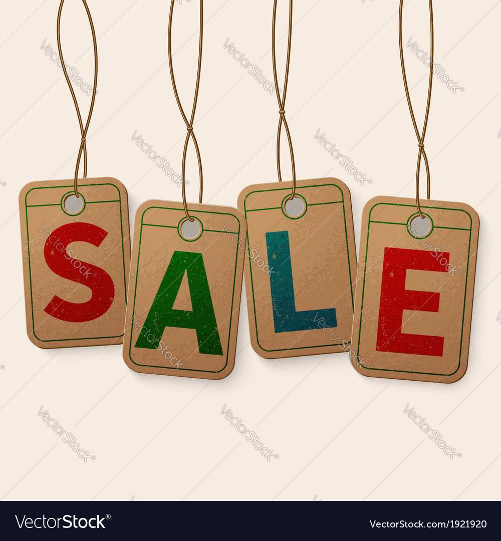 Sale tag on vintage hanging labels isolated on vector | Price: 1 Credit (USD $1)
