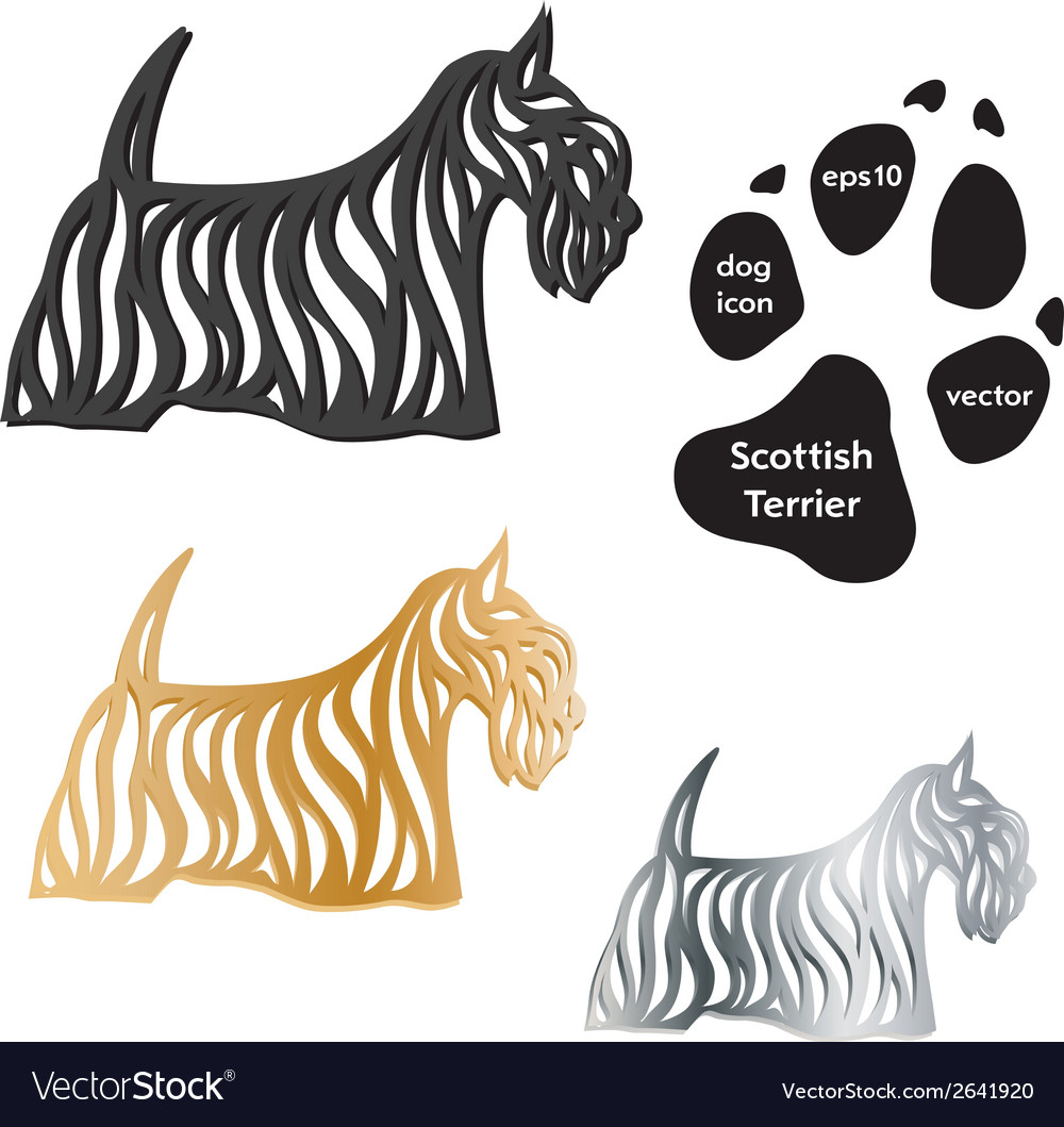 Scottish terrier dog icon on white background vector | Price: 1 Credit (USD $1)