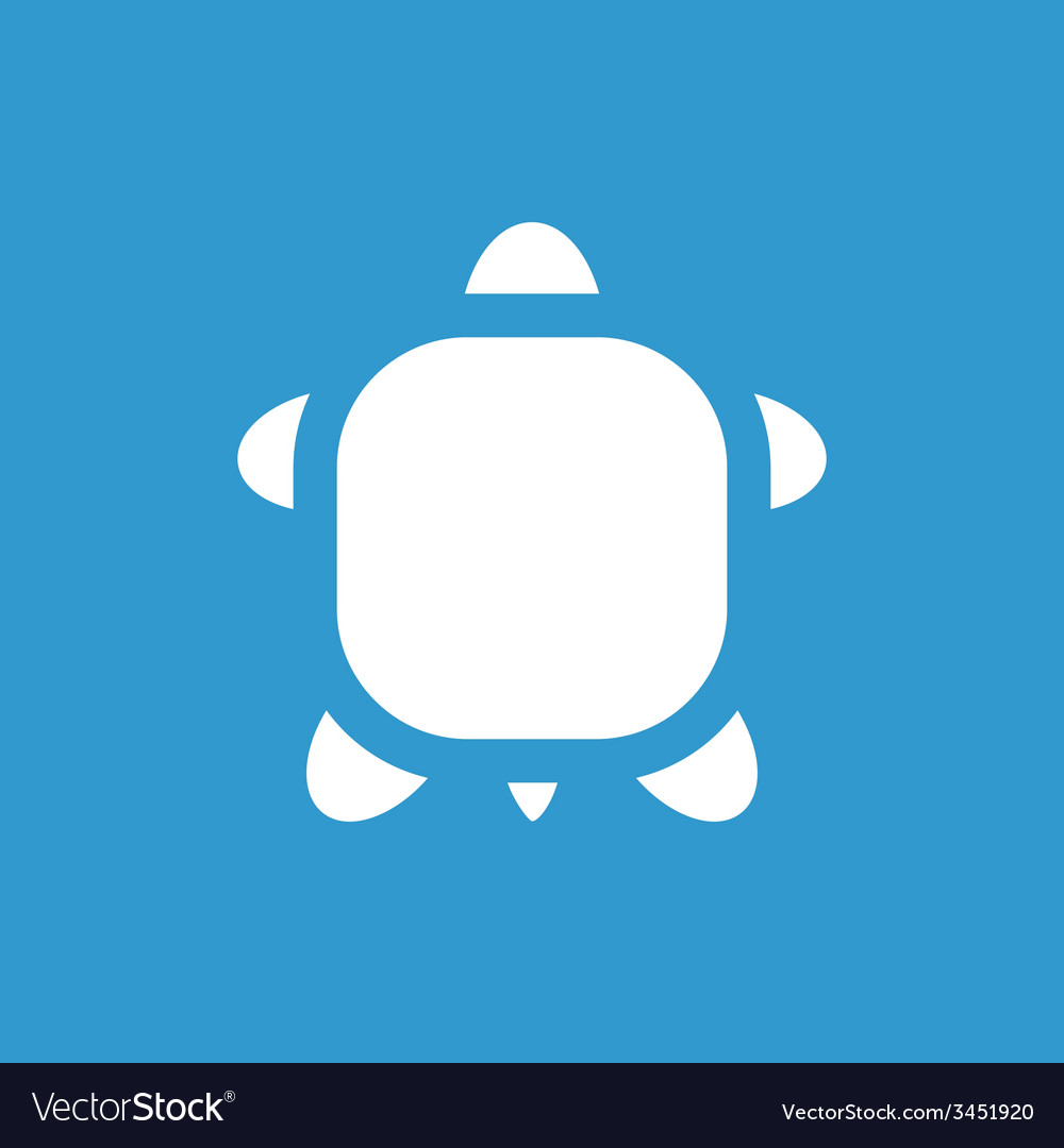Turtle icon white on the blue background vector   Price: 1 Credit (USD $1)