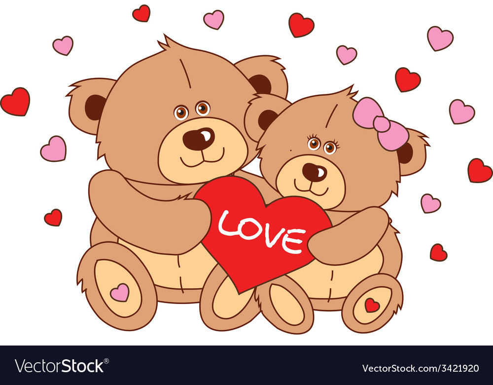 Two teddy bear holding a heart characters vector | Price: 1 Credit (USD $1)