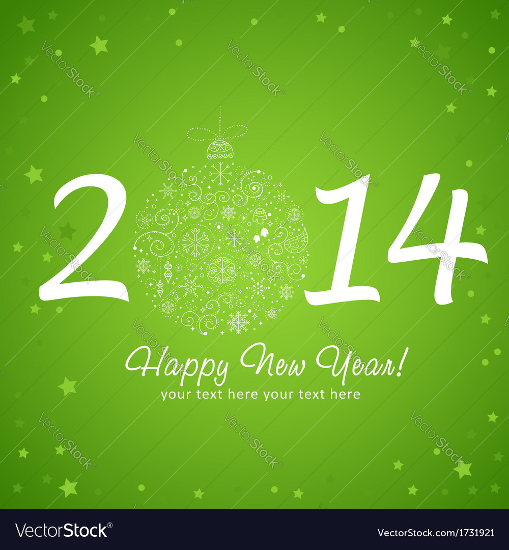 2014 happy new year greeting card vector | Price: 1 Credit (USD $1)