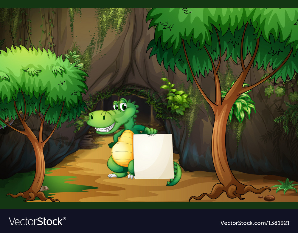 A crocodile holding an empty paper outside the vector | Price: 1 Credit (USD $1)
