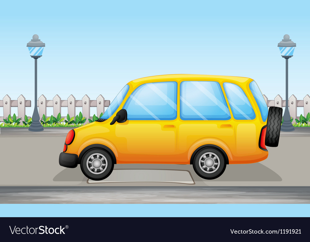 A yellow van in the street vector | Price: 1 Credit (USD $1)