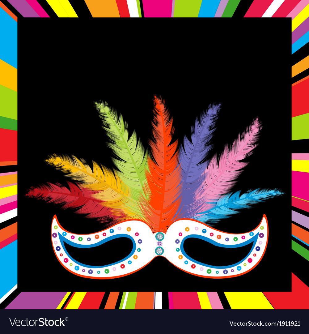 Black mask with colored feathers vector | Price: 1 Credit (USD $1)