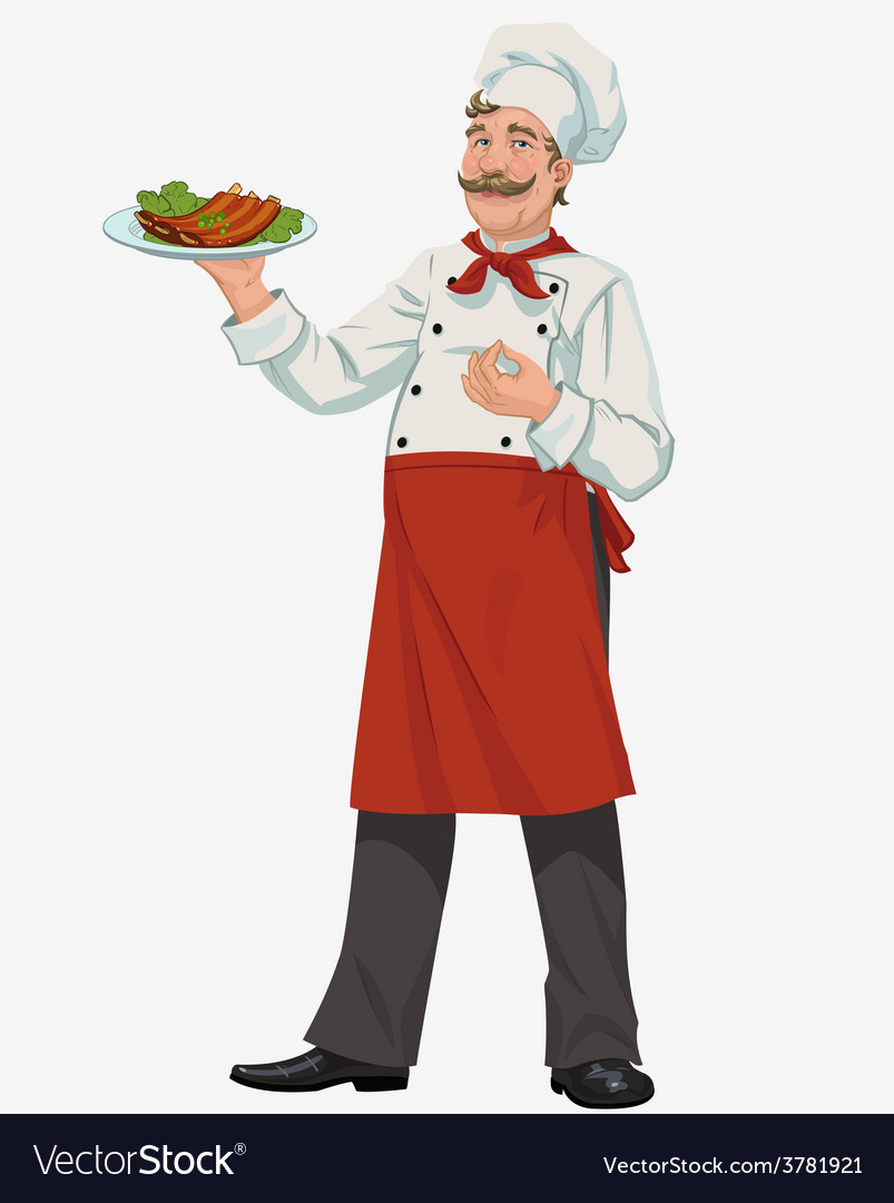 Chef with cooked grill ribs vector | Price: 3 Credit (USD $3)