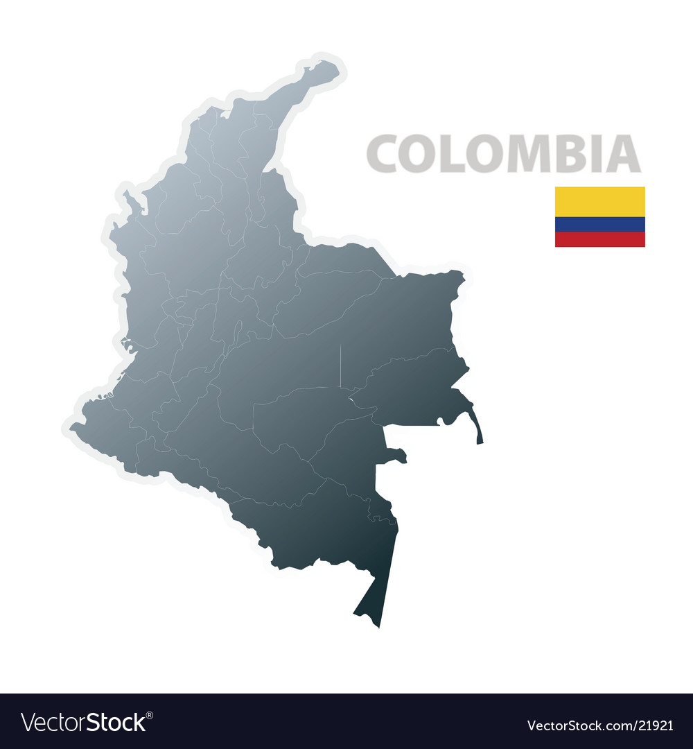 Colombia map with official flag vector | Price: 1 Credit (USD $1)
