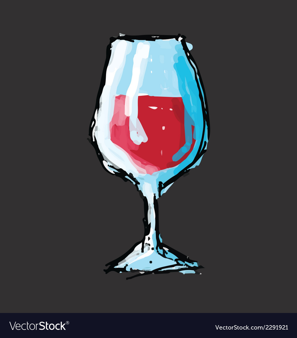 Hand drawn sketch of a glass of wine vector | Price: 1 Credit (USD $1)