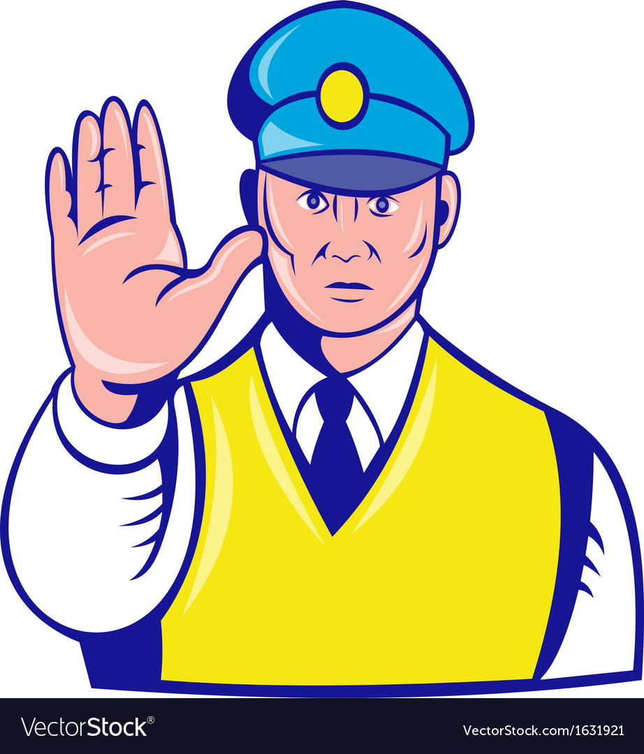 Police officer holding hand up vector | Price: 1 Credit (USD $1)
