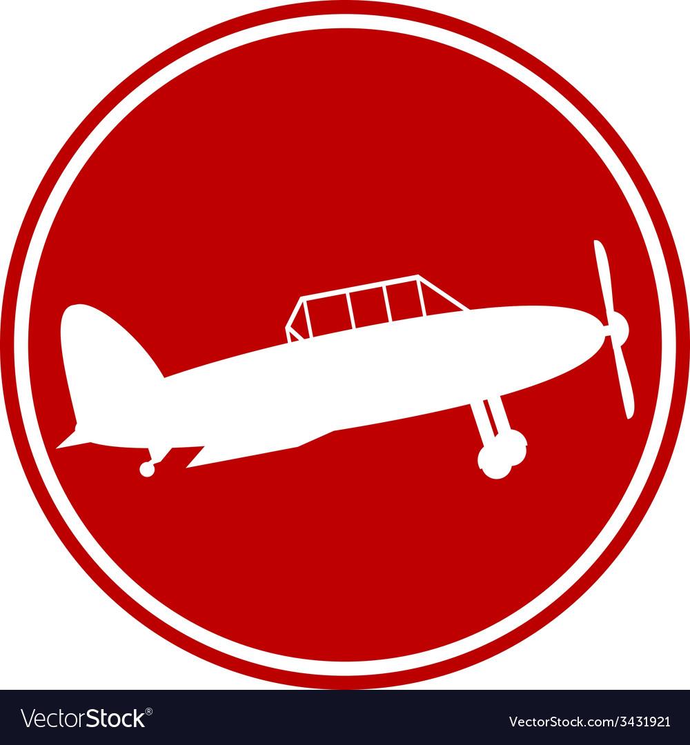 Retro military airplane button vector | Price: 1 Credit (USD $1)