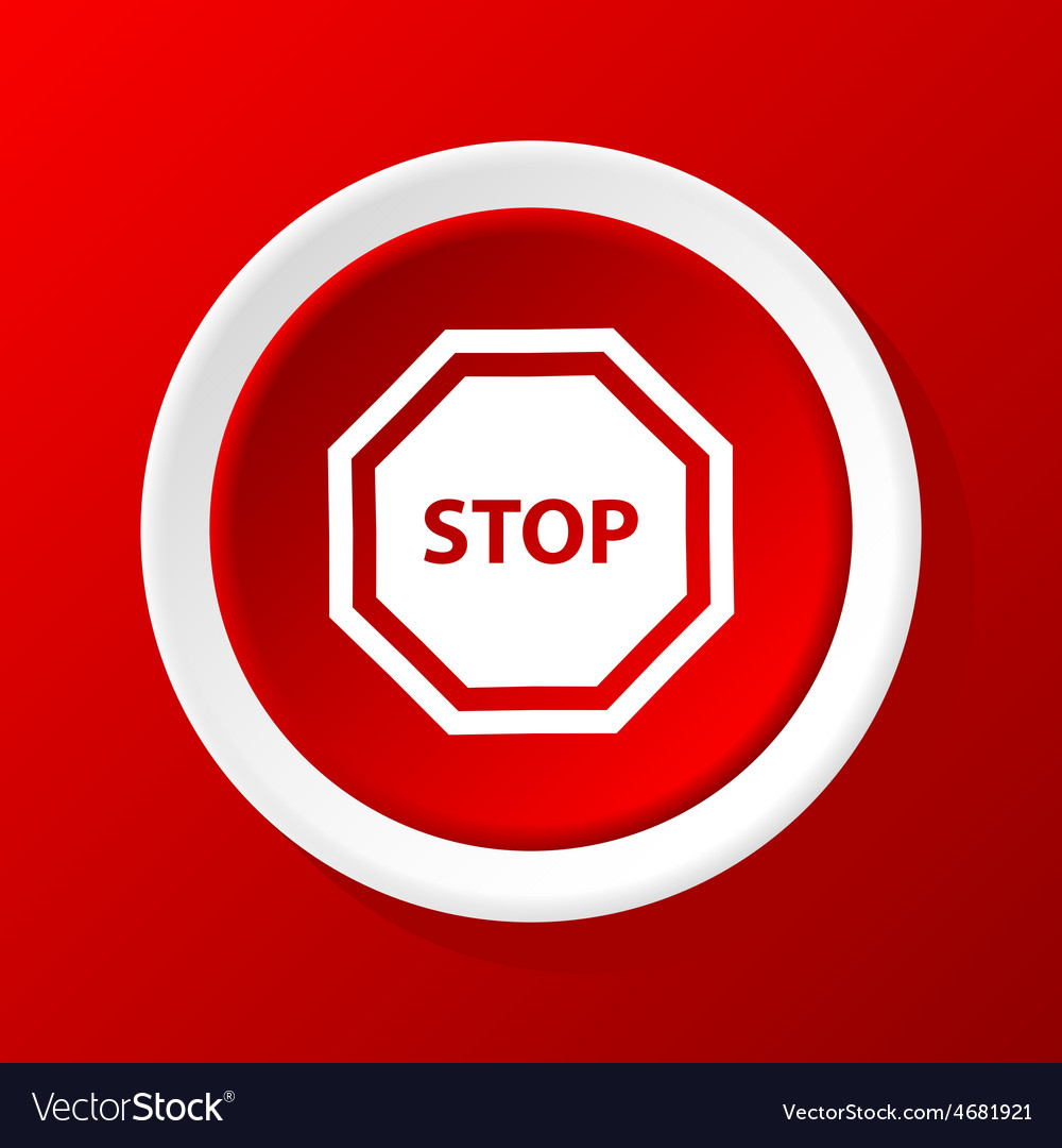 Stop sign icon on red vector | Price: 1 Credit (USD $1)