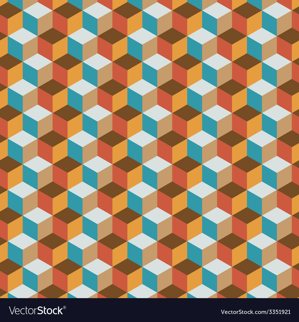 Vintage cube flat color background vector | Price: 1 Credit (USD $1)