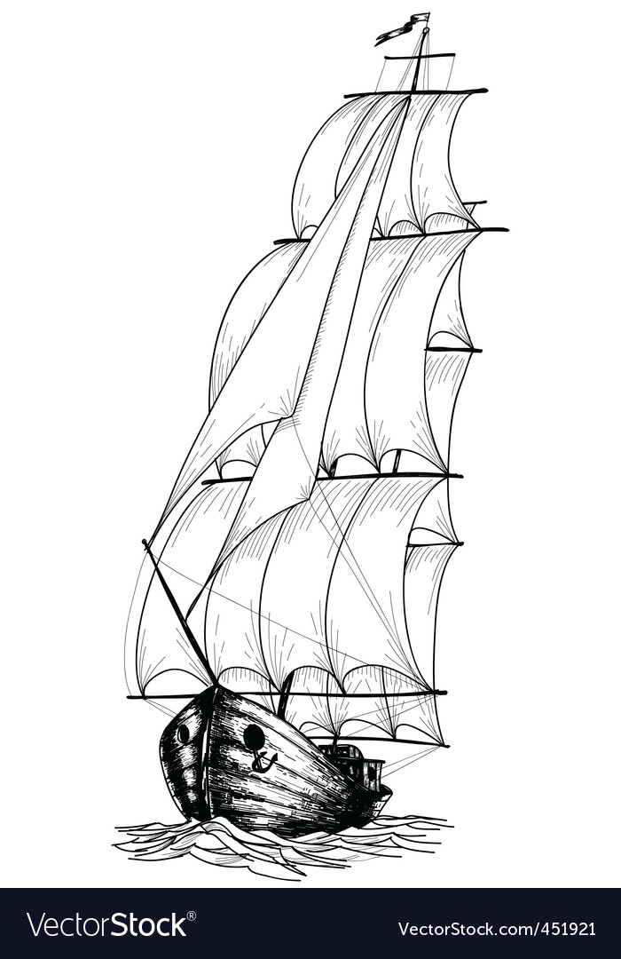 Vintage sailboat sketch vector | Price: 1 Credit (USD $1)