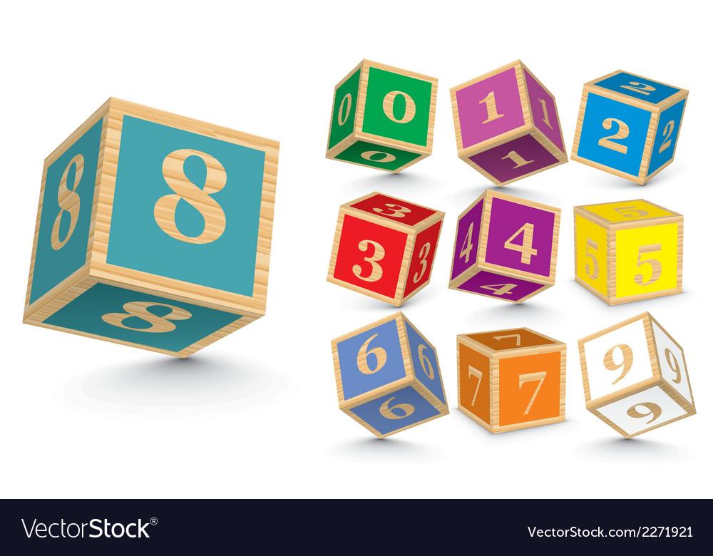 Wooden number blocks vector
