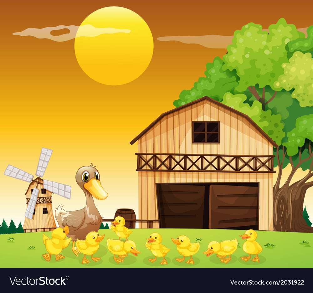 A duck and her ducklings outside the farmhouse vector | Price: 3 Credit (USD $3)
