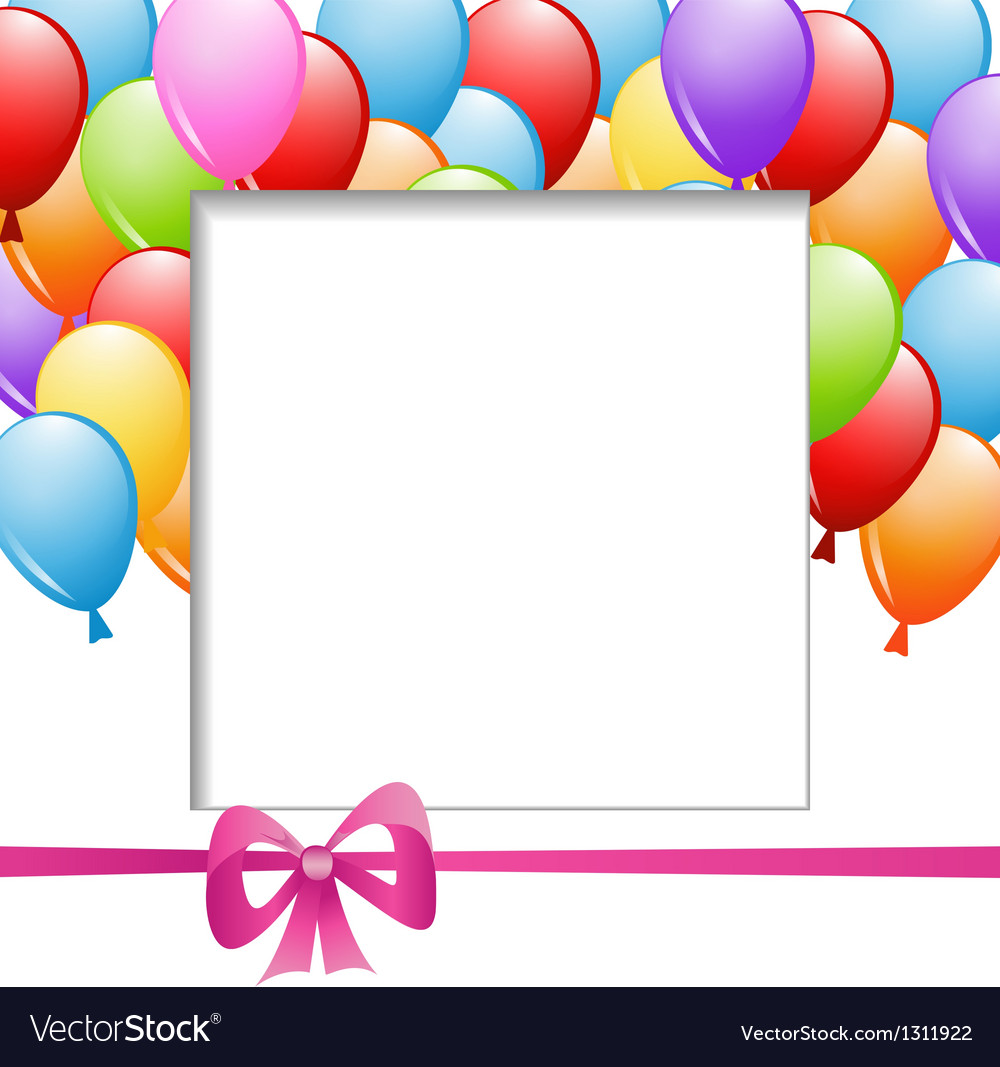 A frame with balloons and a ribbon vector | Price: 1 Credit (USD $1)