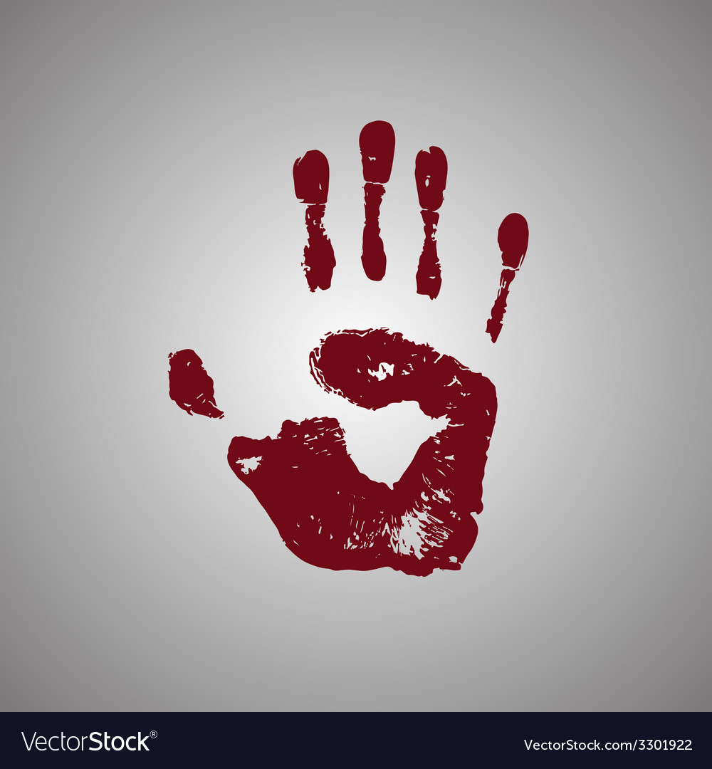 Bloody handprint isolated on white background vector   Price: 1 Credit (USD $1)
