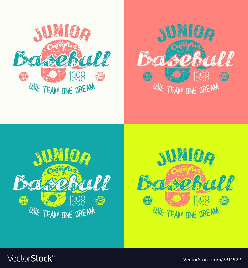 College baseball junior team emblem vector | Price: 1 Credit (USD $1)