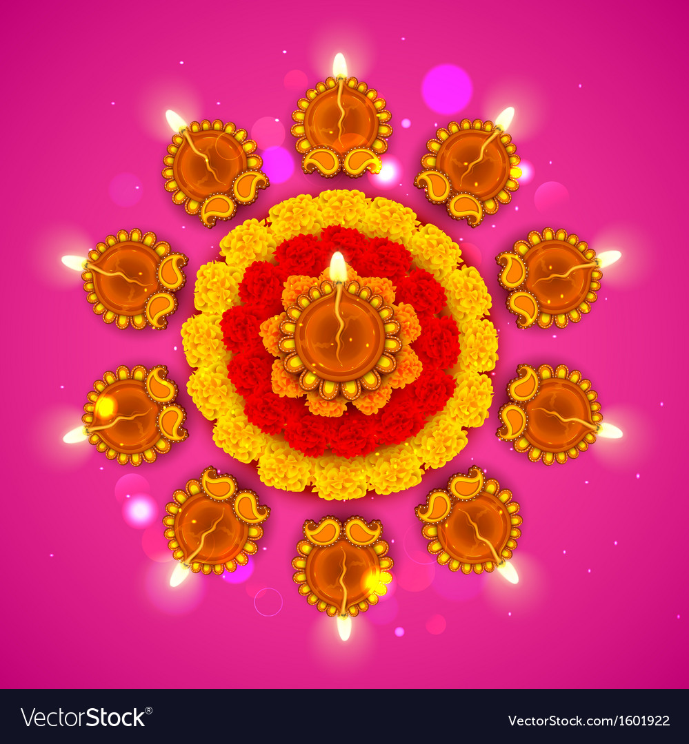 Decorated diwali diya on flower rangoli vector | Price: 1 Credit (USD $1)