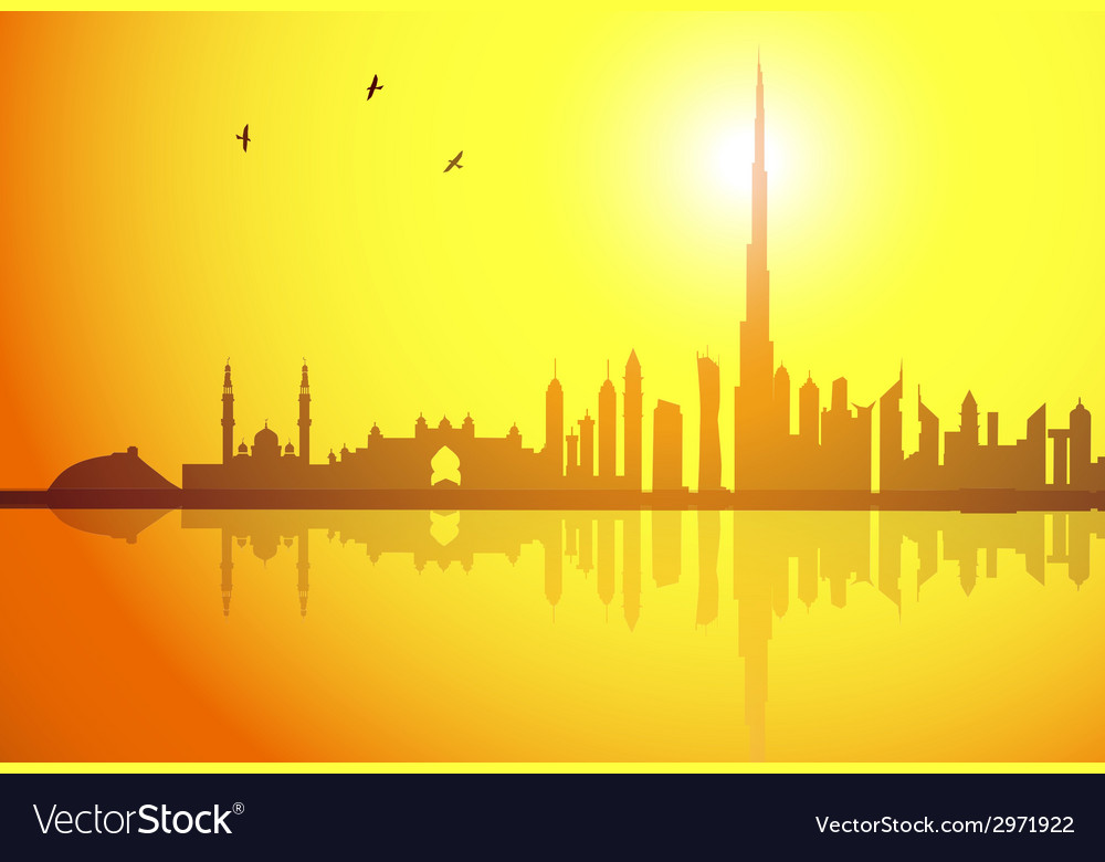 Dubai sunset vector | Price: 1 Credit (USD $1)