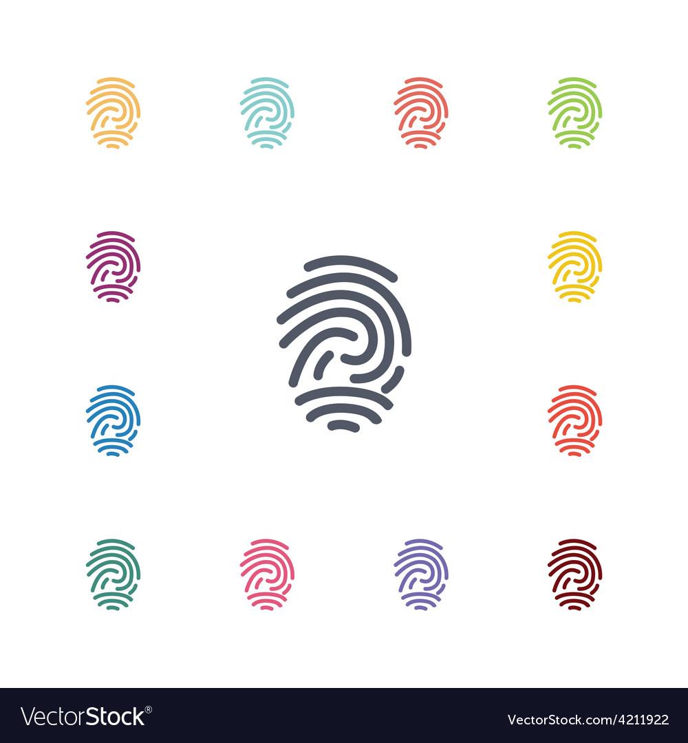 Fingerprint flat icons set vector   Price: 1 Credit (USD $1)