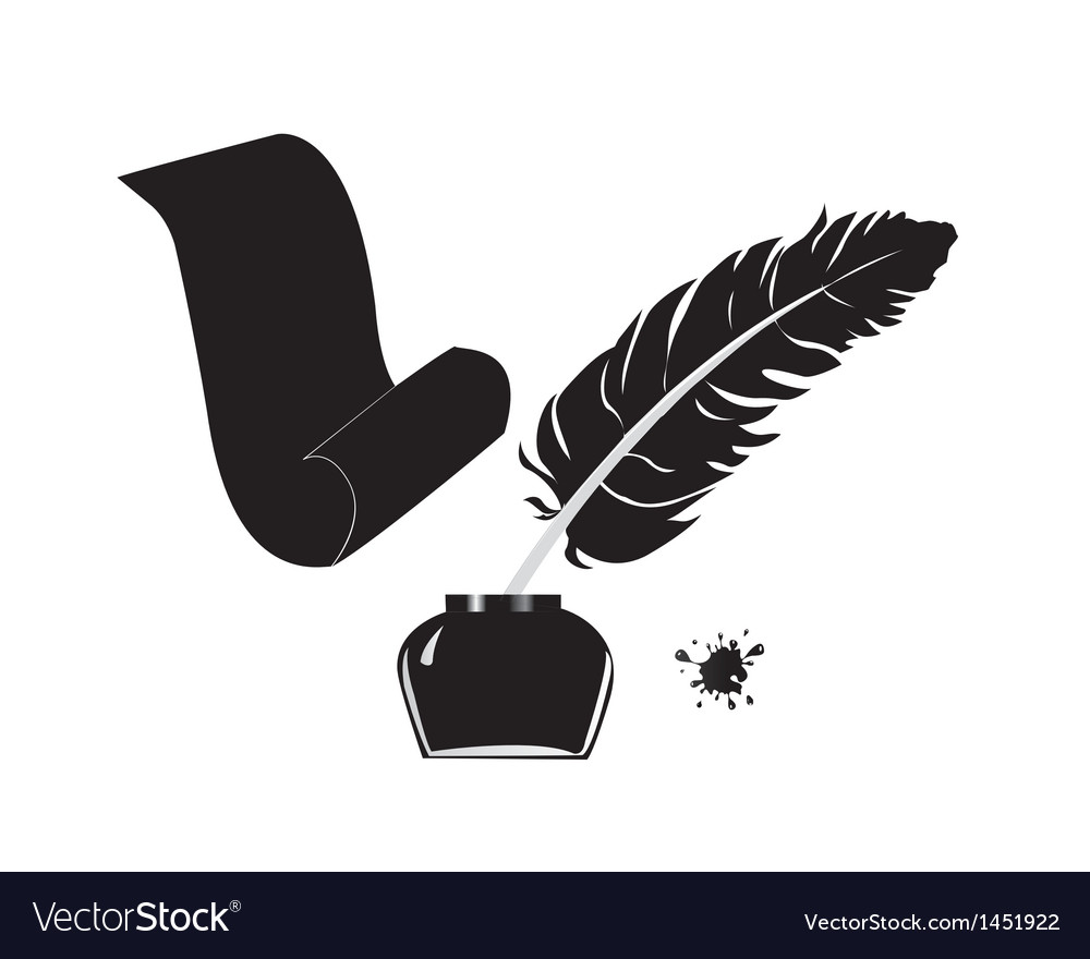 Inkwell pen and scroll vector   Price: 1 Credit (USD $1)