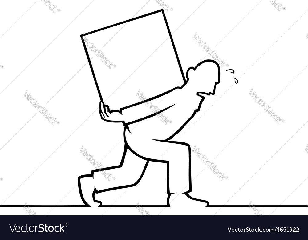 Man carrying a heavy box on his back vector | Price: 1 Credit (USD $1)