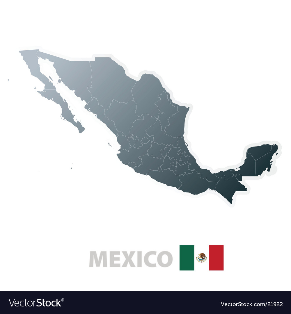Mexico map with official flag vector | Price: 1 Credit (USD $1)