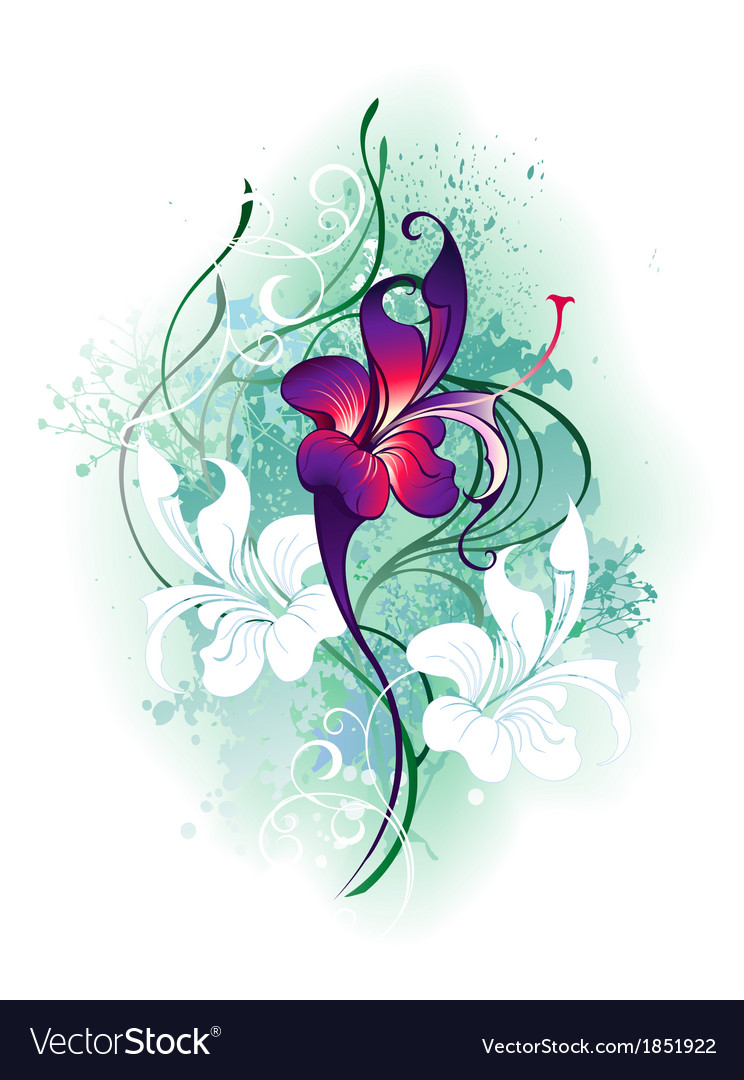Purple flower vector | Price: 1 Credit (USD $1)